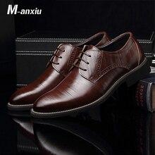 M anxiu Flat Classic Men Dress Leather Wingtip Carved Italian Formal Plus