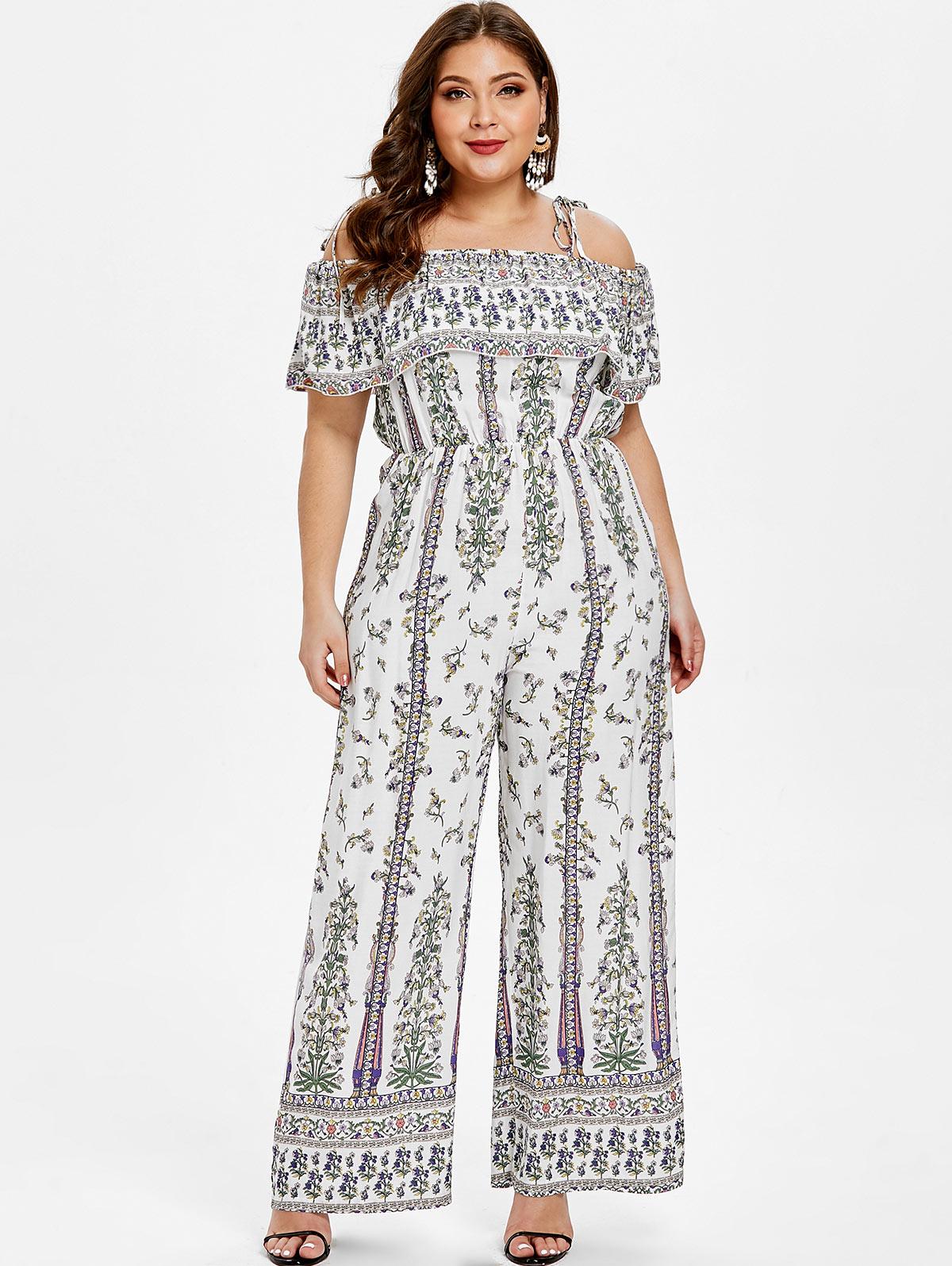 a25aa83ebd18 2019 Wipalo Women Plus Size Ruffle Panel Floral Print Jumpsuit Boho ...