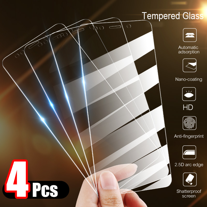 4Pcs Tempered Glass For Xiaomi Redmi Note 7 6 5 8 Pro 6A Screen Protector Protective Glass For Redmi Note 8 7 5 Plus 7A 5A Glass