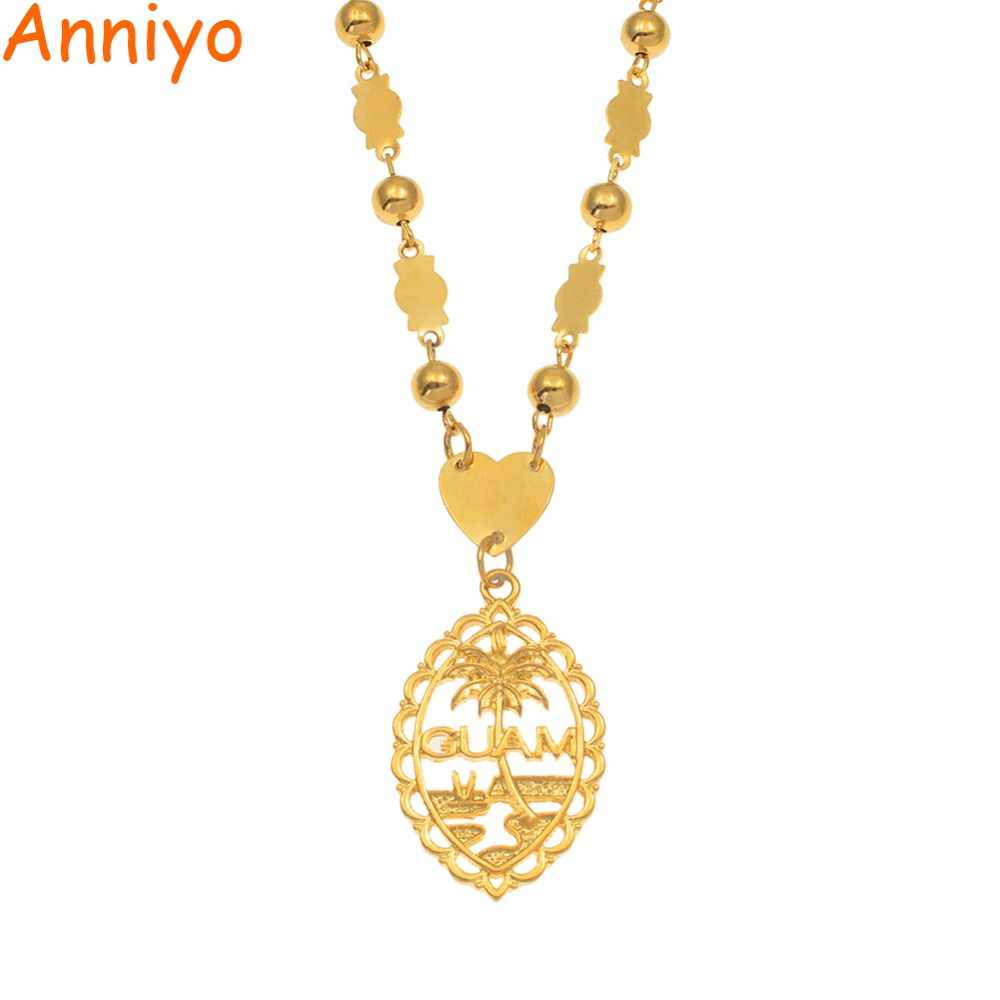 Anniyo Guam Pendant With 6mm Ball Beads Necklaces for Women Girls Gold Color Mariana Guam Jewelry Gifts #166506