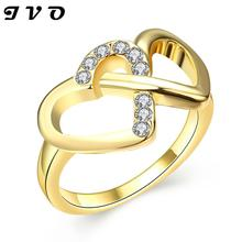 Wholesale New Jewelry Gold color Unique Korean Design Rhinestone Double Hearts Finger Ring High Quality