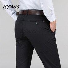 ICPANS Формальные Брюки Для Мужчин Бизнес Офис Платье Брюки Прямые Эластичные Черные Формальные