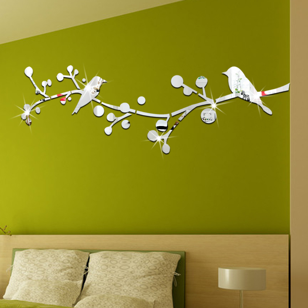 Bird and branch shape 3D crystal mirror wall stickers living room background home decor self adhesive mirror stickers 120*51cm