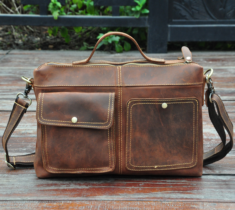 ФОТО High quality crazy horse leather cowhide genuine leather male business casual vintage 12 computer briefcase