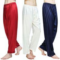 Mens Silk Satin Pajamas Pyjamas Pants Lounge Pants Sleep Bottoms Free P P S 4XL Plus