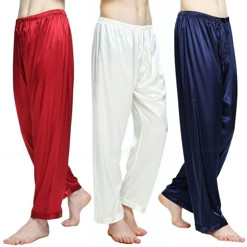 Mens Silk Satin Pajamas Pyjamas Pants Lounge Pants  Sleep Bottoms Free P&p S M L XL 2XL 3XL 4XL Plus