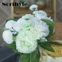 DH nep Zijde Pioen Rose Dahlia Bruiloft bruidsboeket wit Kunstmatige pioen Bloemen geschenken thuis bloem bruiloft decor