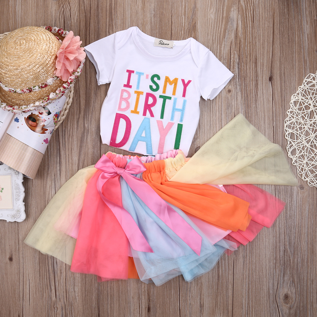 Toddler Baby Kid Princess Girl Birthday Short Sleeveless Tops T Shirt Party Rainbow Lace Mini Skirt Clothes Set 2019 in Clothing Sets from Mother Kids