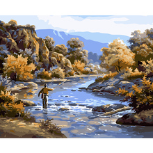 Unframed DIY Oil Painting By Numbers Kits Landscape Fishing In River Canvas  Printing Wall Mural Picture Acrylic Paint Decals
