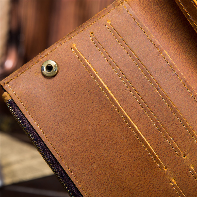 crazy horse leather men 39 s long wallet leather pure first layer leather wallet vintage wallet 5505 3 in Wallets from Luggage amp Bags