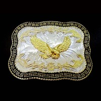 Flying Eagle Cowboy Cowgirl Western Belt Buckle Silver With Gold Suitable 4cm Width Belt