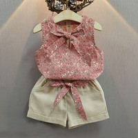 2017 Summer 3-7 Years Girls Clothes Baby Suits Kids T Shirt +Linen Pants Children Clothing Set Child Blue Pink Flower Costume