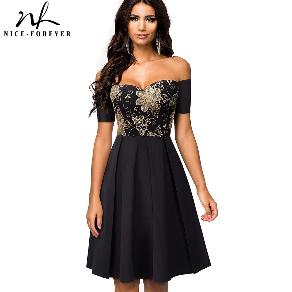 Nice-forever Vintage Embroidery Lace Patchwork Sexy Off Shoulder vestidos A-Line Pinup Business Party Women Flare Dress A076