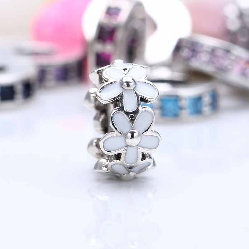 100% 925 Sterling Silver Fit Original Pandora Bracelet Darling Daisies Spacer Charm DIY Charm Beads for Jewelry Making