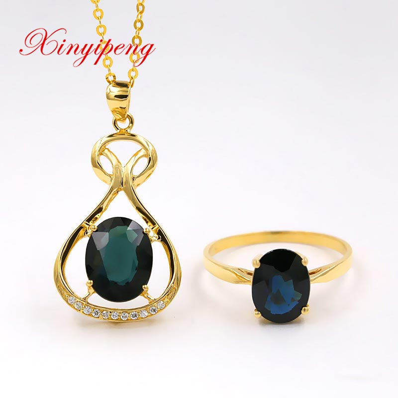 Xin yi peng 18 k or jaune incrusté saphir naturel collier bague costume, bijoux pour femmes, classique et généreux