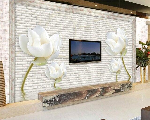 Beibehang decoración del hogar papel pintado azulejos blancos, 3D ...