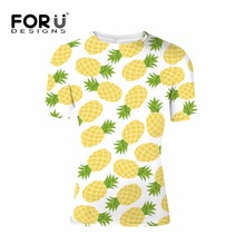 FORUDESIGNS Pineapple T shirt Mens Casual Clothing Summer t Men Simple tees Shirts Male Boys Tops XS S M L XL XXL