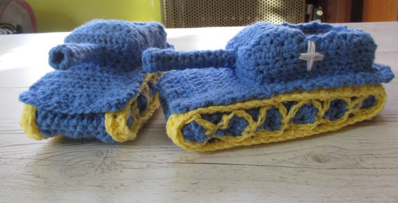 Tank Slippers Funny Gift For Him Crochet Tank Slippers Mens Slippers