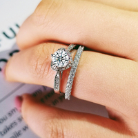 2019 new luxury halo 925 sterling silver wedding ring set for women lady anniversary gift jewelry drop shipping R5169S