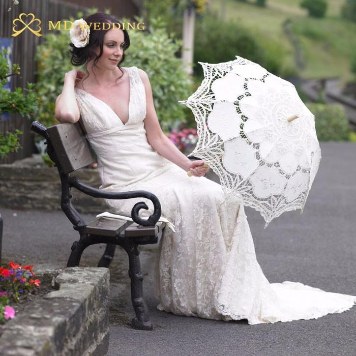 New Lace Umbrella Cotton Embroidery White/Ivory Battenburg Lace Parasol Umbrella Wedding Umbrella Decorations Free Shipping 46