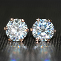 Queen Brilliance Genuine18K 750 Rose Gold 2 Carat ct F Color Lab Grown Moissanite Diamond 6 Prongs Earrings For Women