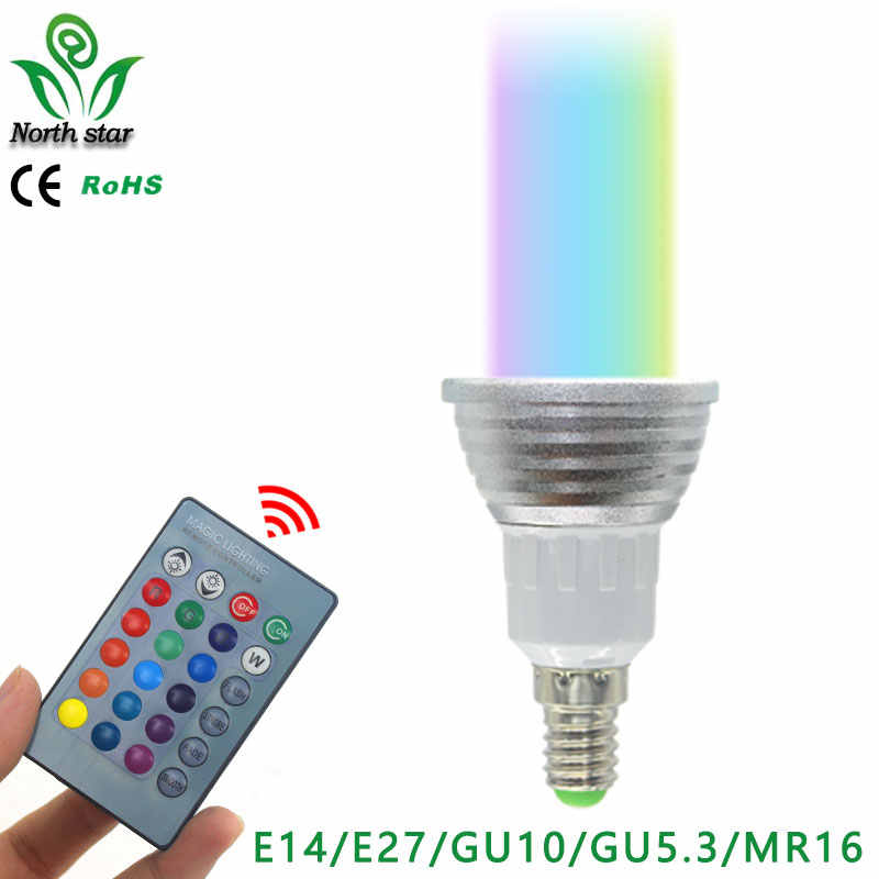 Best led Lowest price E27 E14 GU10 LED RGB Bulb lamp AC110V 220V 5W LED RGB Spotlight RGB lighting+IR Remote Control 16 colors