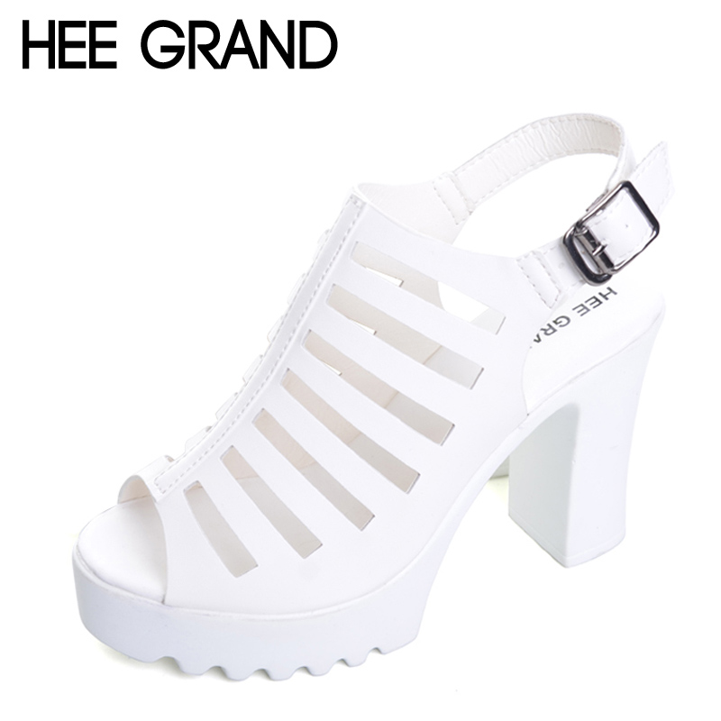 HEE GRAND Summer Gladiator Sandals Platform Casual Shoes Woman Sexy Elegant High Heels Buckle Pumps Solid Women Shoes XWZ4180 hee grand summer glitter gladiator sandals 2017 casual wedges bling platform shoes woman sexy high heels beach creepers xwx5813