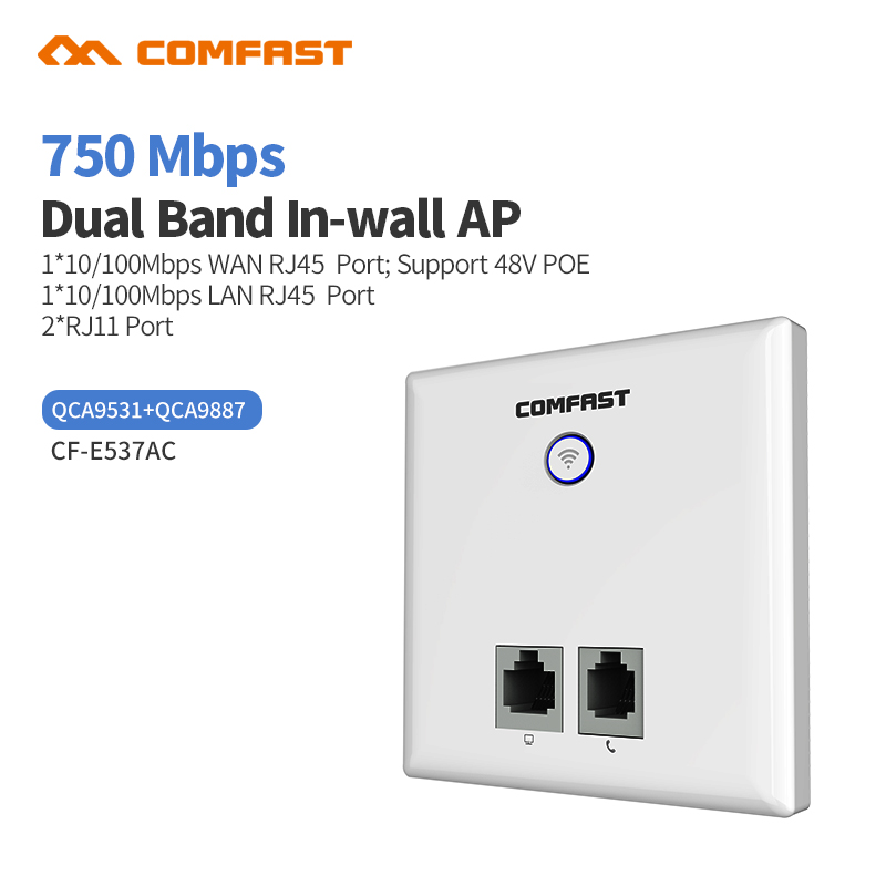 750Mbps Dual Band Indoor 86 Wall Socket WiFi in Wall AP Wireless Poe Access Point RJ11 / WAN LAN RJ 45 Port Repeater Router
