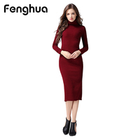 Fenghua Women Autumn Elegant Lady Dresses Casual Turtleneck Long Sleeve Dress Sexy Split Bodycon Pencil Dress
