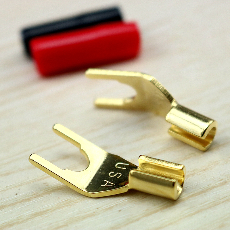Gold Cables 4 ALL Premium 2 x Terminal Spade connectors for Speaker Connections Fits up to 8mm Speaker Posts
