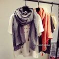 European Style Double Layer Cotton Grey and Orange Scarf Shawl 2017 New Spring and Summer Women Pashmina Shawl