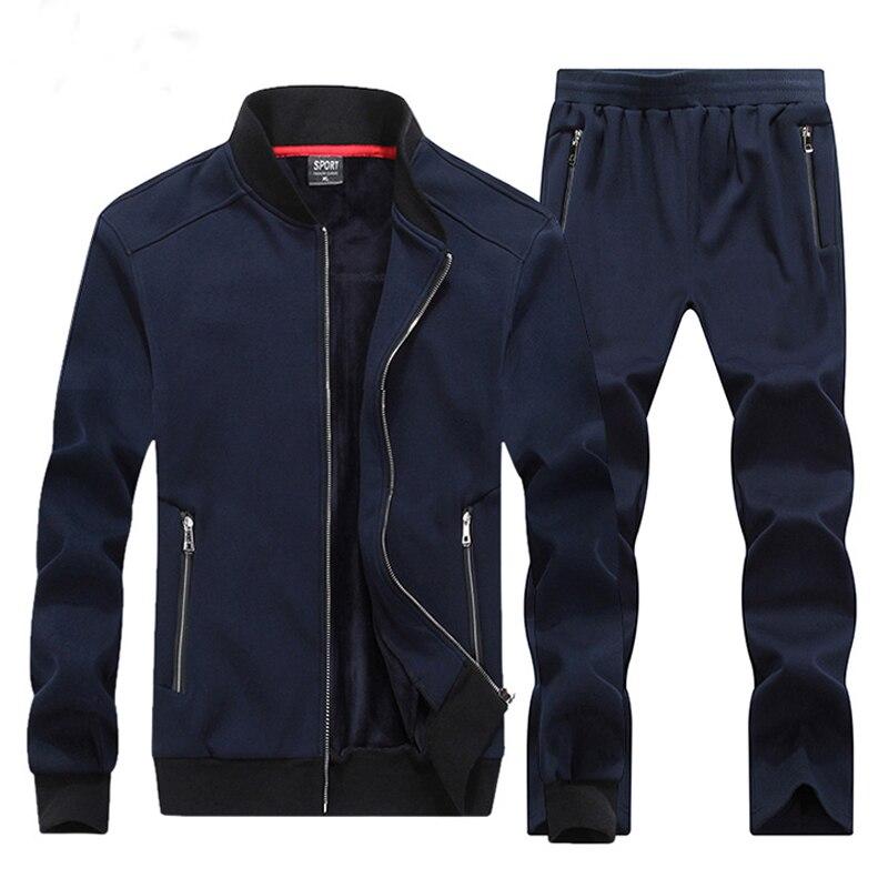 Grande Hommes Fermeture Sportwear Ensemble Porter Green army Sporting Deux Sweat Homme bleu gris Taille Pièces Hiver Survêtement Hoodies Éclair Chaud Enfants Noir Casual Fa8dWq6n