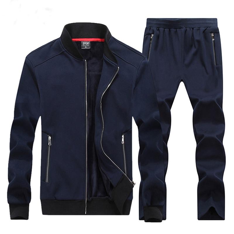 3b82d7809cb Winter Mens Sportwear Sweatshirt Tracksuit Male Hoodies Casual Warm Track  Suit Zipper Sporting Wear Two Piece Set Kids Big Size-in Men's Sets from  Men's ...