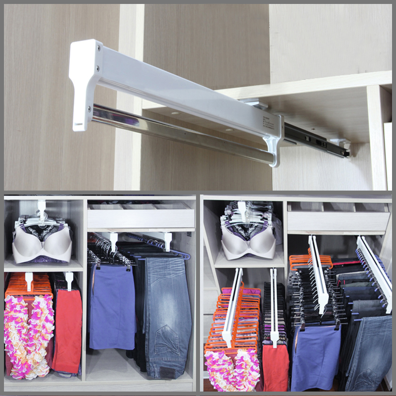 Pull-Out Closet Valet Rod Adjustable Wardrobe Clothing Rail Top Mount Wardrobe Hanger Rack Bar Ball Bearing Slide Heavy DutyPull-Out Closet Valet Rod Adjustable Wardrobe Clothing Rail Top Mount Wardrobe Hanger Rack Bar Ball Bearing Slide Heavy Duty