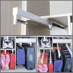 Pull-Out Closet Valet Rod Adjustable Wardrobe Clothing Rail Top Mount Wardrobe Hanger Rack Bar Ball Bearing Slide Heavy Duty