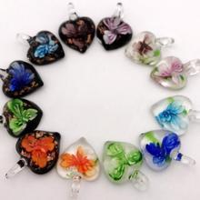 Ретро в форме сердца фосфоресцирующая Глянцевая подвеска модное ожерелье с цветами разноцветная подвеска