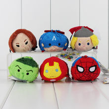 1Pcs 9cm o Capitão América IronMan Hulk verde Black Widow Spiderman Thor Screen Cleaner chaveiro de pelúcia brinquedo(China)