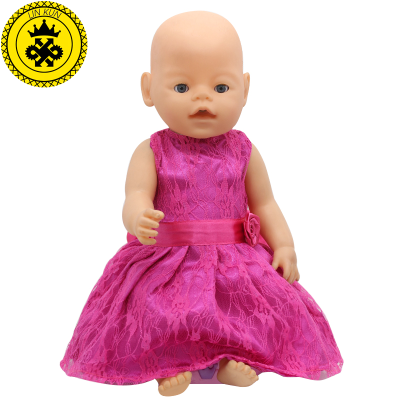 LIN KUN Fit 43cm Zapf Baby Born Doll Clothes Rose Lace Princess Dress Baby Born Doll Accessories Children Best Gifts 164 high quality 15 colors princess dress doll clothes for 43cm baby born zapf doll clothes and accessories best gift for children