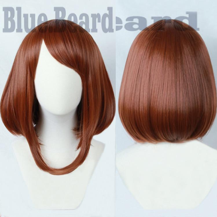 Biamoxer Anime My Hero Academia Ochako Uraraka Short Brown Bob Heat Resistant Cosplay Costume Wig + Track + Cap