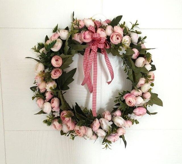 Door Hanging Garland Ornaments Christmas Pendant Heart shaped Door Wreath Love Flower Wedding Wreath Wall Lintel Simulation in Artificial Dried Flowers from Home Garden