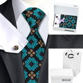 HN-329 Men's Fashional Black Tie Green and Brown Flower Tie Hanky Cufflinks Gift box bag Sets For Wedding Party