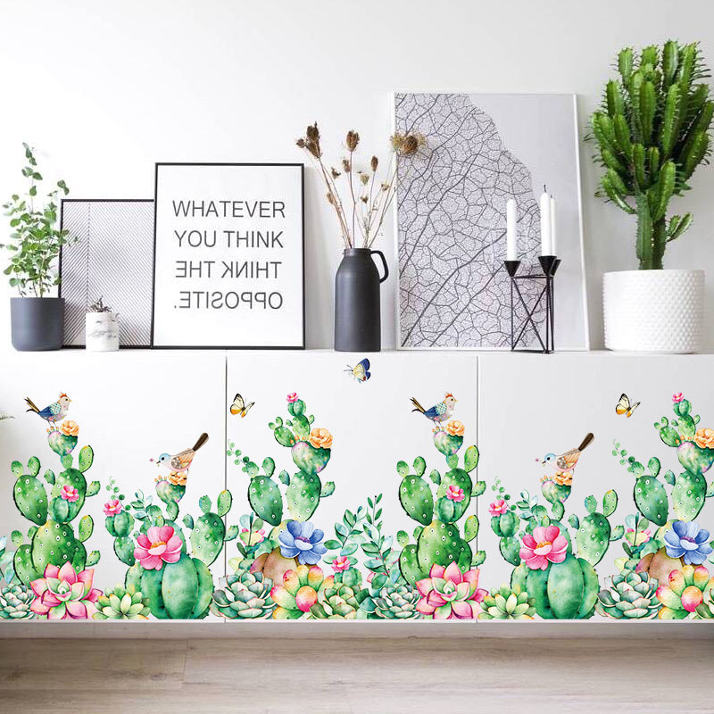 Green Cactus Plants DIY Wall Stickers for Bedroom Wardrobe Fridge Living Room Home Decor Art Decals Nordic Style Wall Sticker