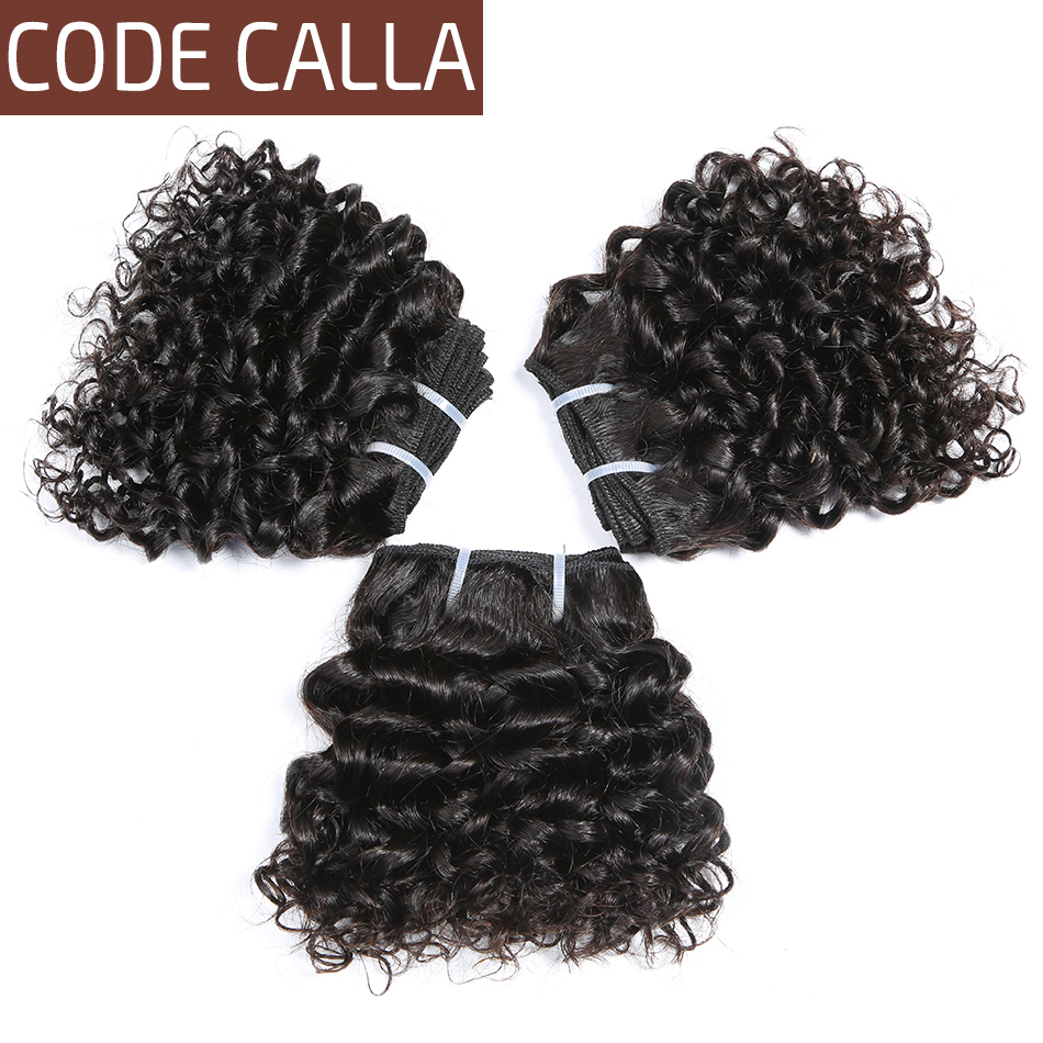 Code Calla Short-cut Pre-Colored Raw Virgin Human Hair Weave Bundles 3 PCS 6 Inch Kinky Curly 6PCS Can Make A Wig Free Shipping