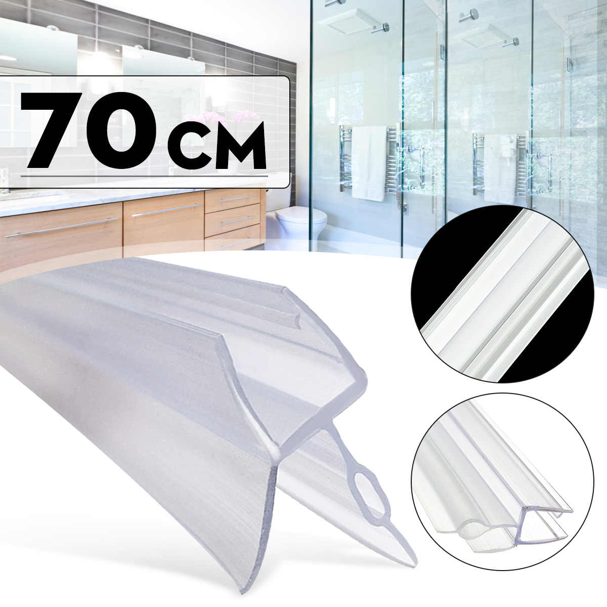 4-6mm Shower Screen Water Seal Strip Bar Curved Flat Glass Bath Door to 17mm Gaps