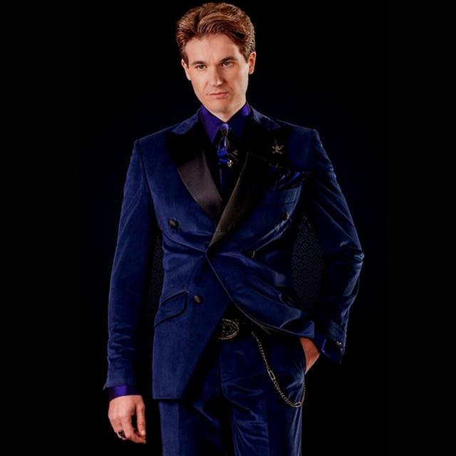Double Breasted Groomsmen Dark Blue Velvet Men Suit Groom Tuxedo