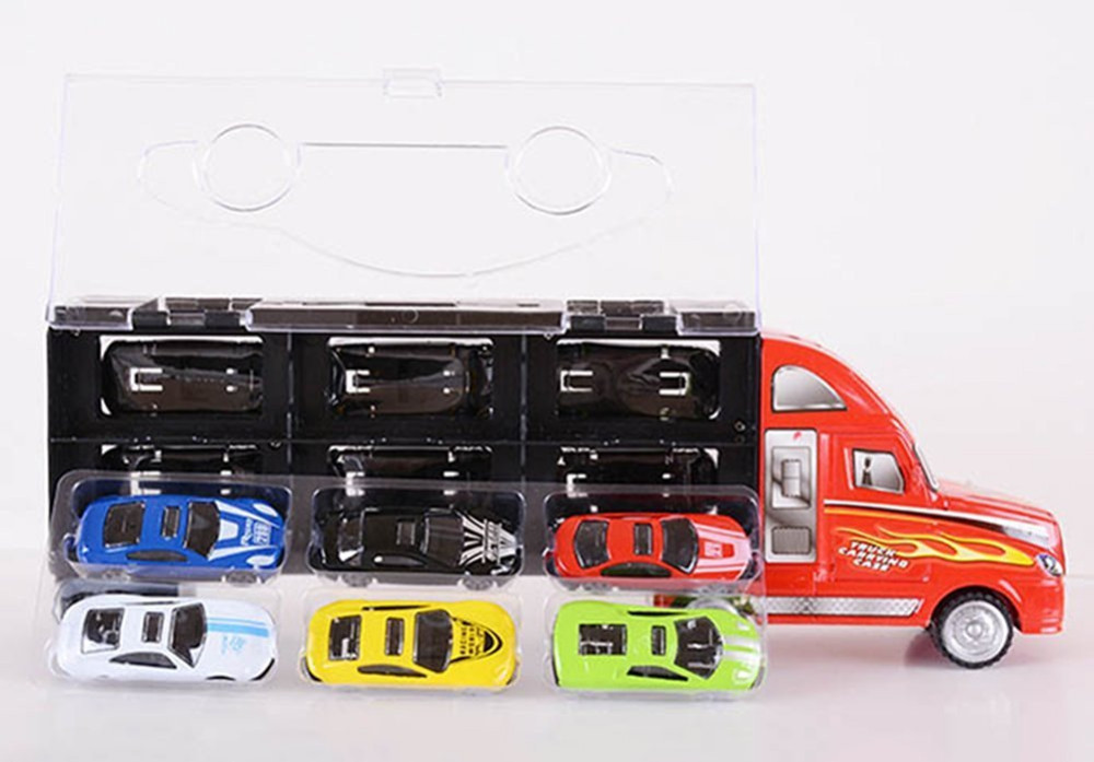 Boys 1:30 Scale Portable Copper Alloy Model Car Set Big Lorry Truck Vehicle Toy