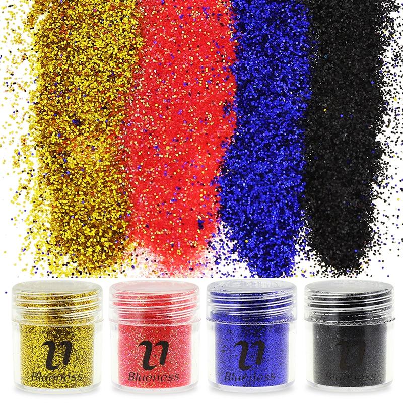 1 palack 10g fekete arany piros kék folytonos por 3D köröm - Köröm művészet