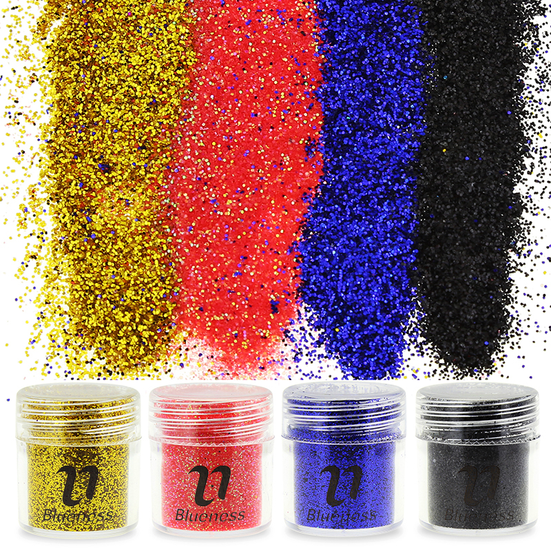 1 Botella 10 g Negro Dorado Rojo Azul Lentejuelas Polvo 3D Brillo de - Arte de uñas