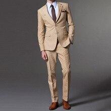 2019 Khaki Mens Slim Fit Business Suits Men Casual Dinner Party Tailor Made High Quality 2 Pieces Suit Jacket Pants