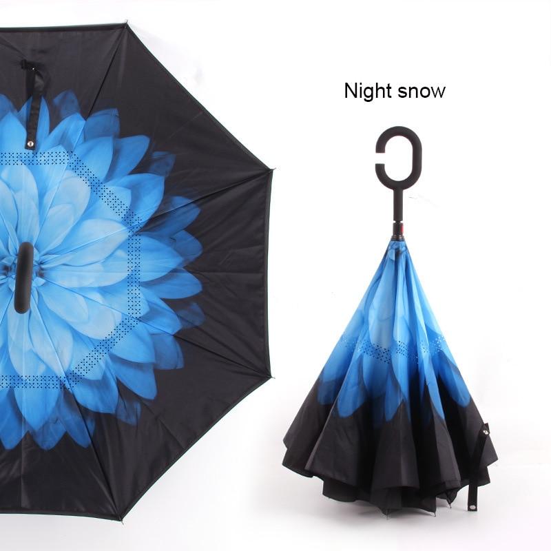 C ручкой ветрозащитный обратный складной зонтик для мужчин и женщин Защита от солнца дождь автомобиль перевернутый Зонты Двойной слой анти УФ Самостоятельная стойка Parapluie - Цвет: night snow